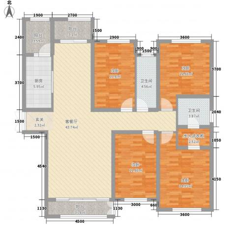 元和国际4室1厅2卫1厨140.22㎡户型图