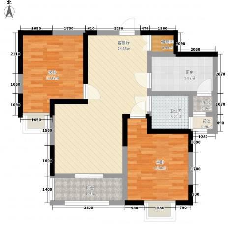 丽晶名邸2室1厅1卫1厨94.00㎡户型图