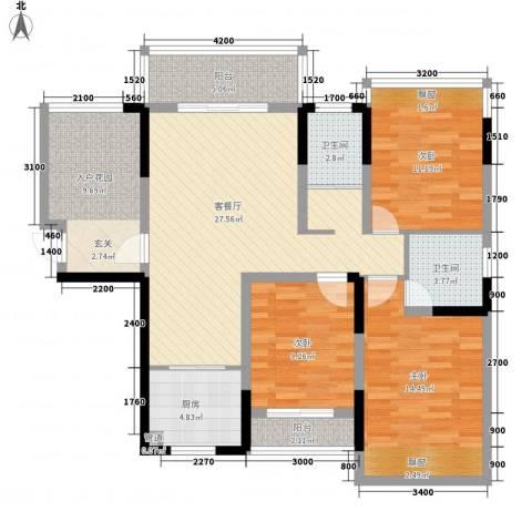 曲江大观园3室1厅2卫1厨132.00㎡户型图