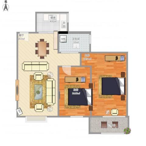 华龙太乙城2室1厅1卫1厨87.00㎡户型图