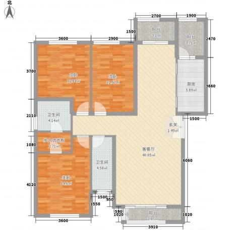 元和国际3室1厅2卫1厨121.31㎡户型图