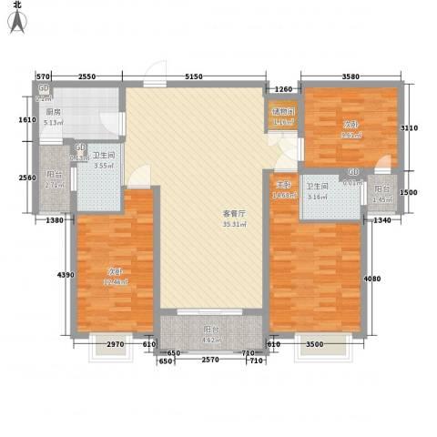 东湖京华3室1厅2卫1厨135.00㎡户型图