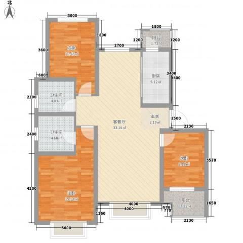 万景花园3室1厅2卫1厨123.00㎡户型图