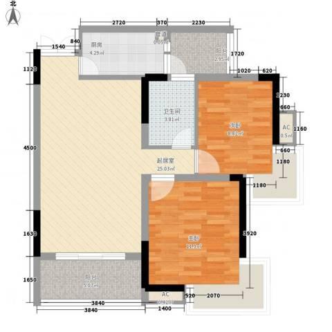 金色江南三期2室0厅1卫1厨91.00㎡户型图