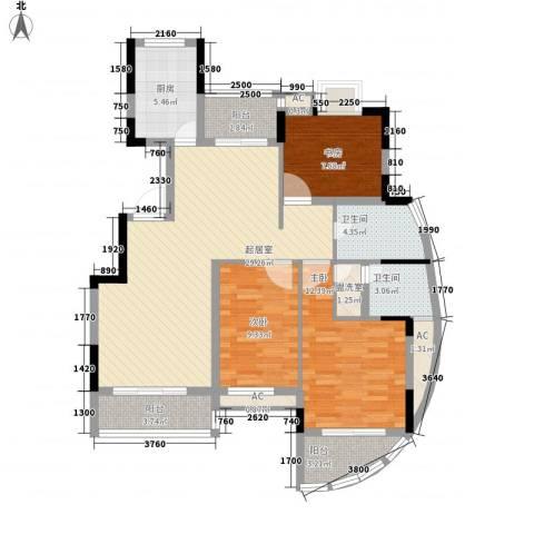 金色江南三期3室0厅2卫1厨125.00㎡户型图