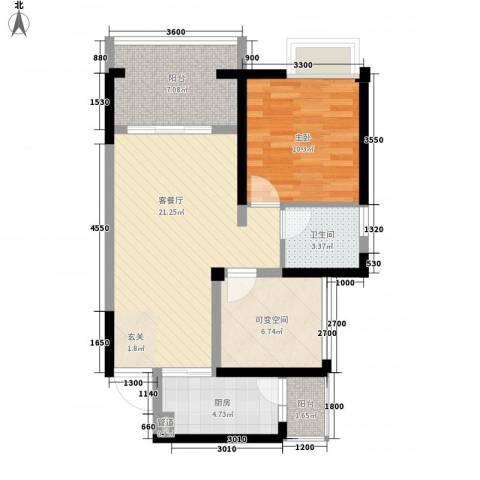 太华路鑫园小区1室1厅1卫1厨81.00㎡户型图