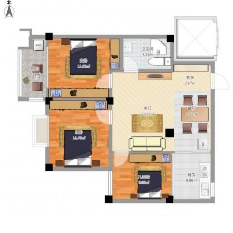 怡和丽景3室1厅1卫1厨95.00㎡户型图