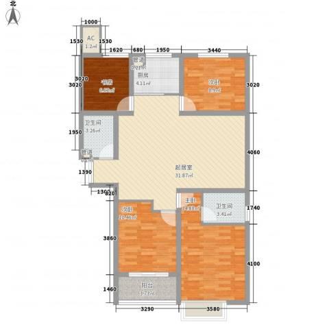 时代广场4室0厅2卫1厨128.00㎡户型图