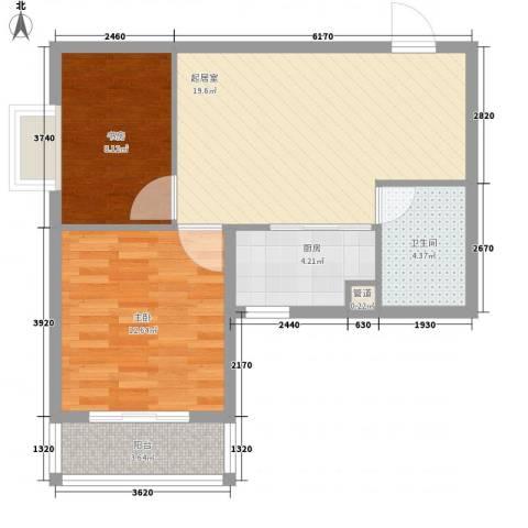 环球国际2室0厅1卫1厨60.00㎡户型图