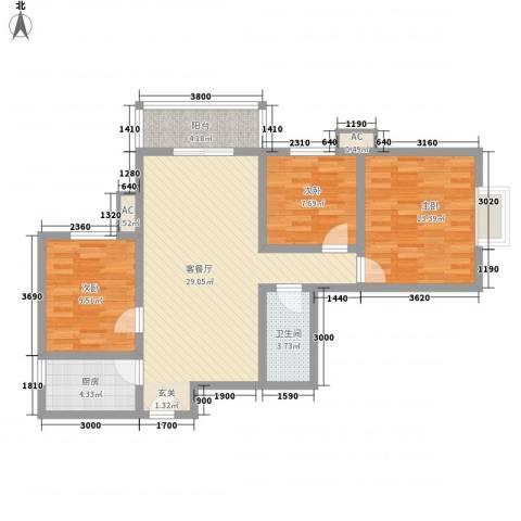 �灞天睦城3室1厅1卫1厨107.00㎡户型图