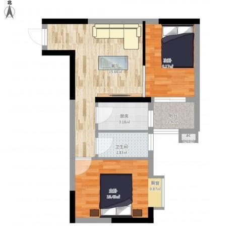 童话里二期2室1厅1卫1厨62.00㎡户型图