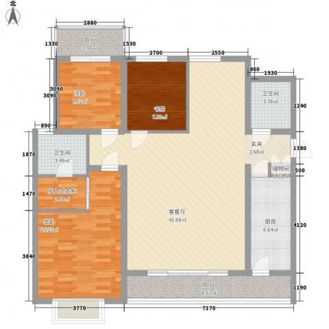 新兴新庆坊3室1厅2卫1厨135.00㎡户型图