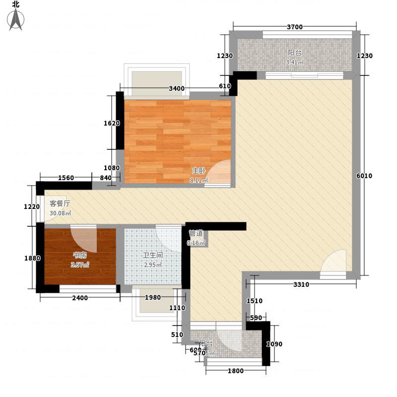 万荟玖珑6.00㎡7栋03户型2室2厅1卫1厨
