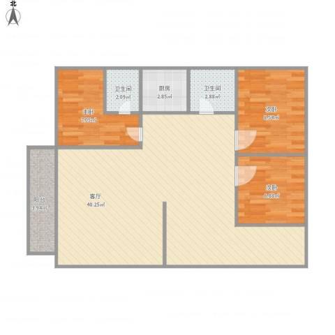 颐景苑3室1厅2卫1厨101.00㎡户型图