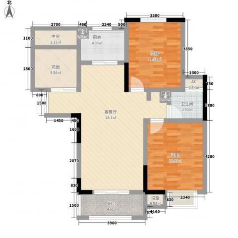 奥林匹克花园2室1厅1卫1厨98.00㎡户型图