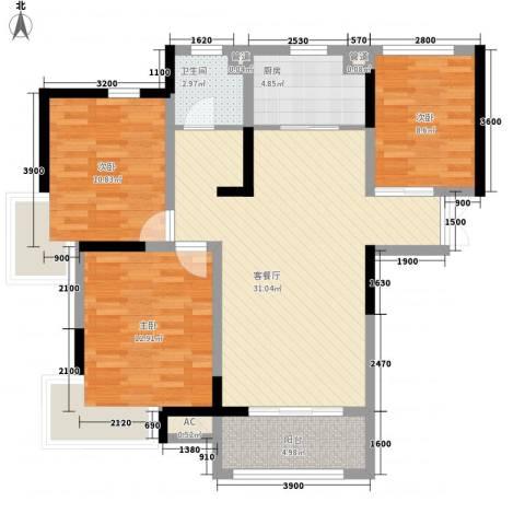 奥林匹克花园3室1厅1卫1厨105.00㎡户型图