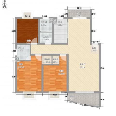大宋世茂名流3室1厅3卫1厨140.00㎡户型图