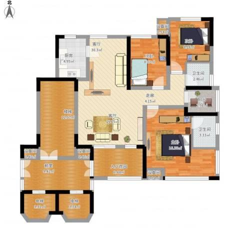南方书苑湖畔3室1厅2卫1厨166.00㎡户型图