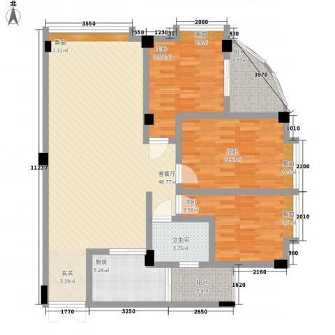 富德居3室1厅1卫1厨131.00㎡户型图