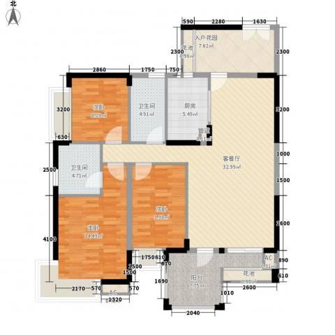 江南第一城3室1厅2卫1厨123.00㎡户型图
