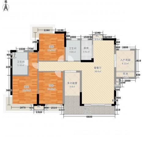 江南第一城3室1厅2卫1厨128.00㎡户型图