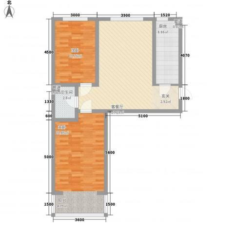 公元大道领誉2室1厅1卫1厨80.37㎡户型图