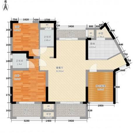 中航山水蓝天2室1厅2卫1厨134.00㎡户型图