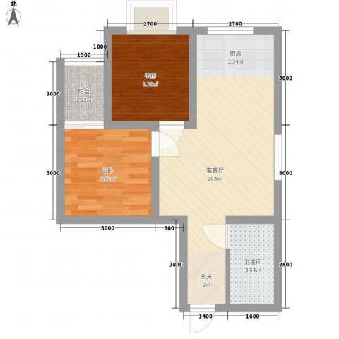 瑞丰新欣城2室1厅1卫0厨56.00㎡户型图