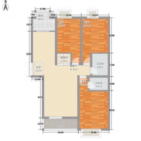 森林湖3室1厅2卫1厨129.00㎡户型图