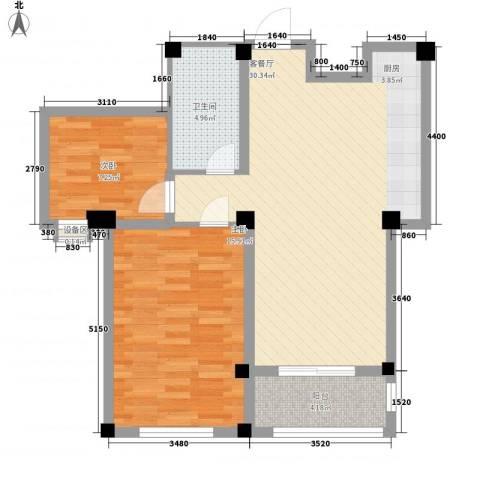 水木华庭2室1厅1卫0厨90.00㎡户型图