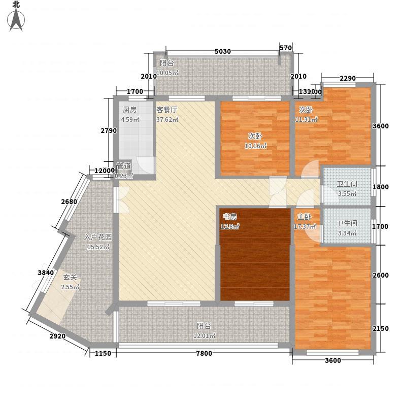 中庚城148.35㎡21#01单元F1户型4室2厅2卫1厨