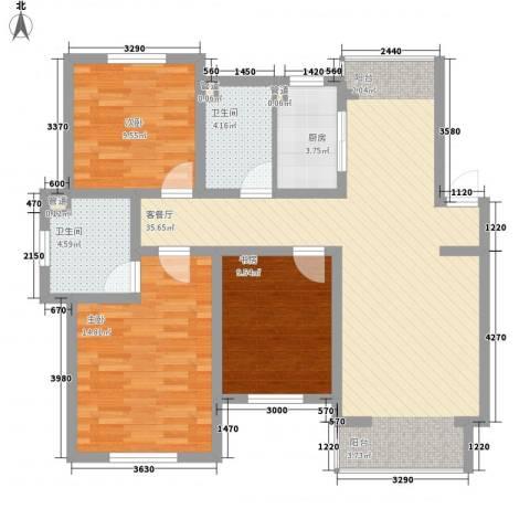 西堤国际3室1厅2卫1厨123.00㎡户型图
