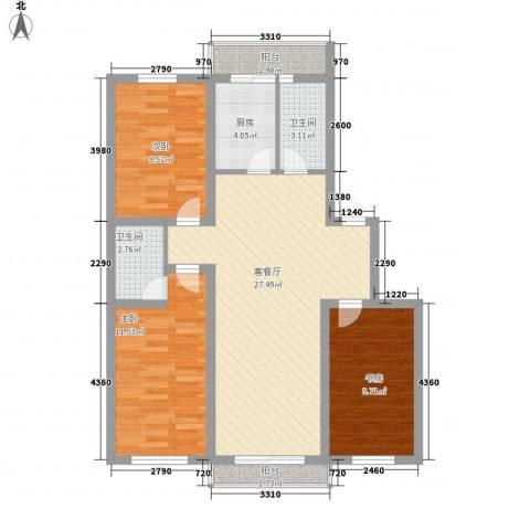 西堤国际3室1厅2卫1厨105.00㎡户型图