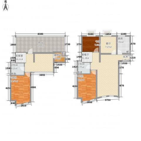 世纪东山3室2厅2卫1厨182.00㎡户型图