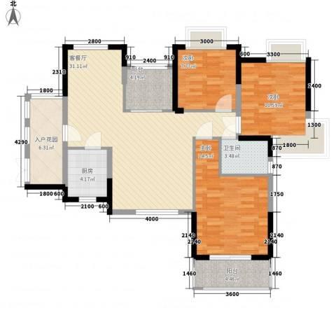 瑞泽源一里洋房3室1厅1卫1厨108.00㎡户型图