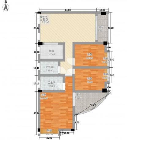 富德居3室1厅2卫1厨108.00㎡户型图