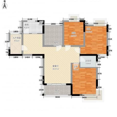 瑞泽源一里洋房3室1厅1卫1厨131.00㎡户型图