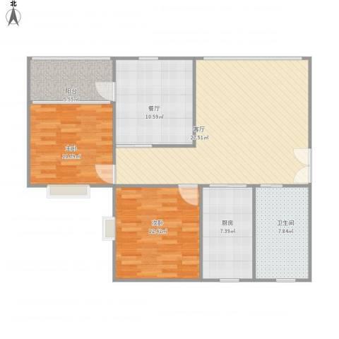 金色蓝庭2室2厅1卫1厨110.00㎡户型图