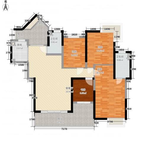 泰禾红树林4室1厅2卫1厨167.00㎡户型图