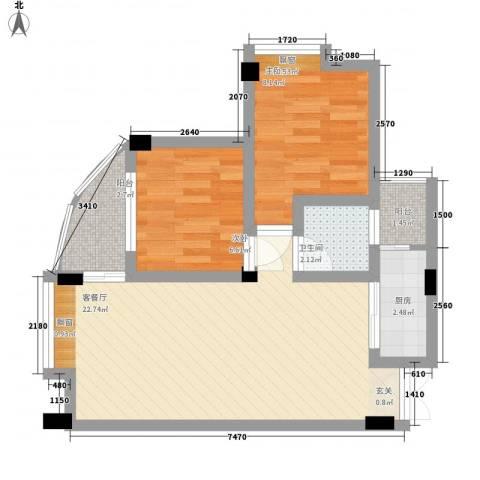 富德居2室1厅1卫1厨69.00㎡户型图