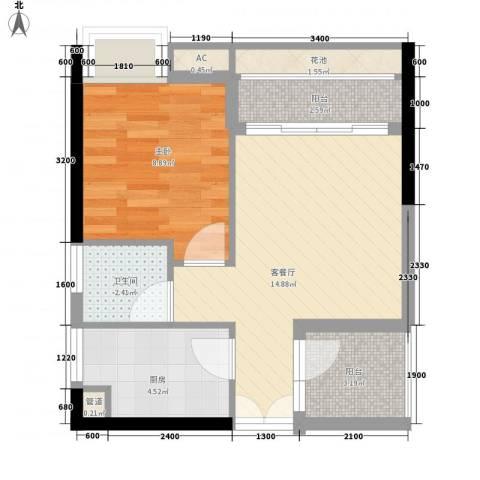 永江国际公馆1室1厅1卫1厨47.00㎡户型图