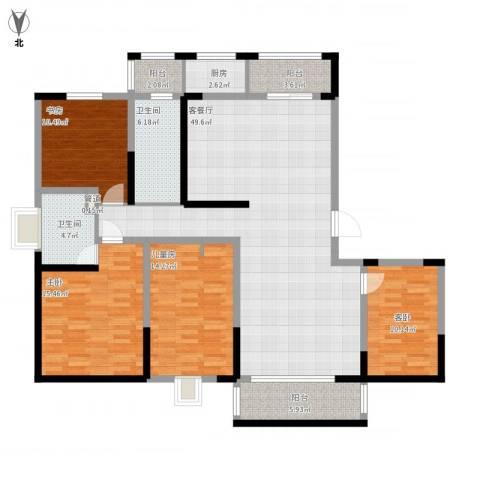 新江湾中凯城市之光4室1厅2卫1厨179.00㎡户型图