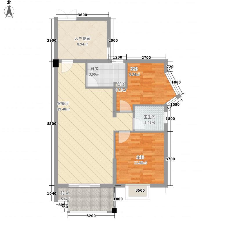 曙光领峰86.75㎡2栋C户型2室2厅1卫1厨