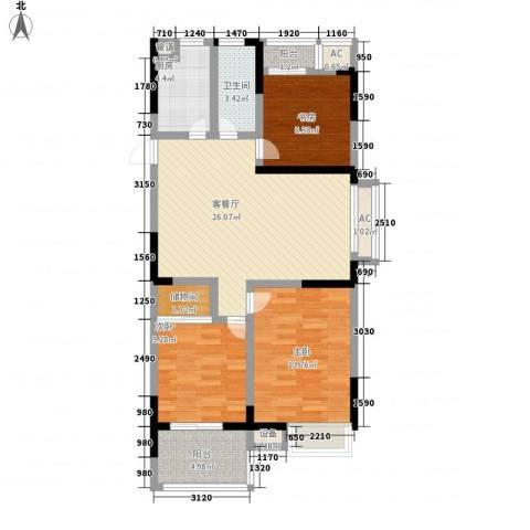 香堤澜湾二期爱琴岛3室1厅1卫1厨112.00㎡户型图