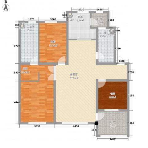 上东街区3室1厅2卫1厨142.00㎡户型图