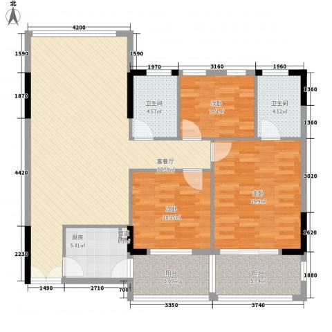 汇银城市花园3室1厅2卫1厨135.00㎡户型图