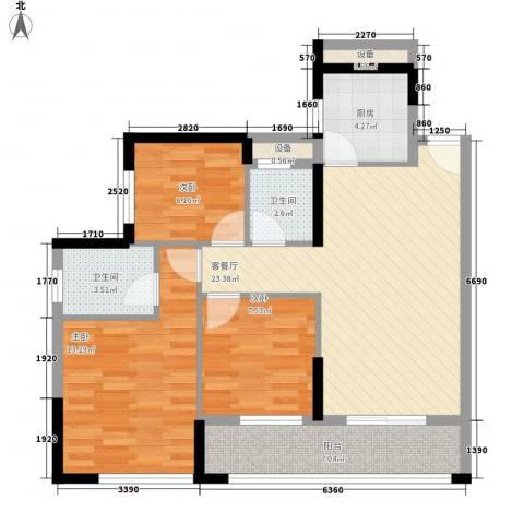 汇银城市花园3室1厅2卫1厨100.00㎡户型图