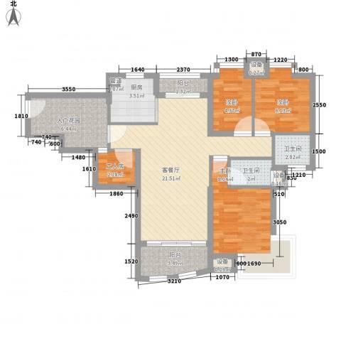 汇银城市花园3室1厅2卫1厨90.00㎡户型图