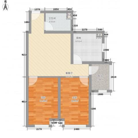 双威理想城2室1厅1卫1厨58.00㎡户型图