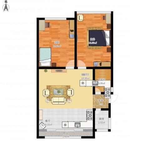 蓝天公寓2室1厅1卫1厨100.00㎡户型图